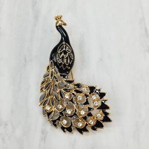 Boutique Jewelry - Peacock Black Enamel Gold Rhinestone Pin Brooch